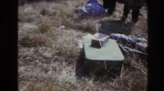 1966: camping gear in a clearing. HOBOKEN NEW JERSEY Stock Footage