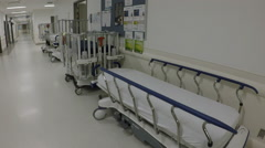 Hospital stretchers, cribs Stock Footage
