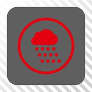 Rain Cloud Rounded Square Button Stock Illustration
