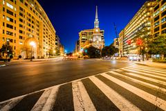 Intersection and The New York Avenue Presbyterian Church at night, in Washing Stock Photos