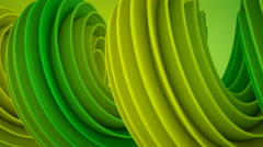 Yellow green twisted 3D shape spinning seamless loop 4k UHD (3840x2160) Stock Footage
