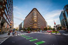 Modern building and intersection in downtown Washington, DC. Stock Photos
