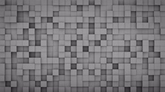 Wall of extruded grey cubes 3D render loopable animation 4k UHD (3840x2160) Stock Footage
