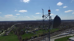 Broadcast Microwave Dish and Tower Beacon aerial view Stock Footage