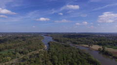 High aerial view over Maumee River and trees Stock Footage