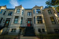 Rowhouses on L Street, in the West End, Washington, DC. Stock Photos