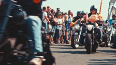 Motorcycle gang at a biker parade Stock Footage