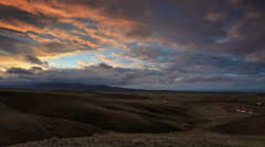 Colorful sunset over the mountains Gurvan Saikhan of southern Mongolia. Full  Stock Footage