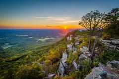 Sunset view from Little Pinnacle Overlook at Pilot Mountain State Park, North Stock Photos