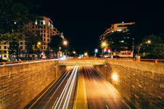 The K Street Underpass at night, at Washington Circle in Washington, DC. Stock Photos