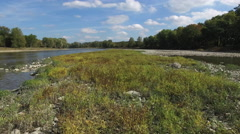 Camera moving slowly over plants in middle of river, peaceful scene Stock Footage