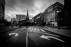 The New York Avenue Presbyterian Church and intersection in Washington, DC. Stock Photos