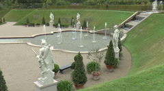 Fountain and Marble Statues at Frederiksborg Palace Gardens Stock Footage