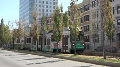 A Green Line MBTA electric tram in Boston, MA. Stock Footage