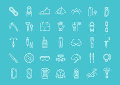 Set Vector Flat Line Icons Mountaineering Piirros