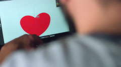 4k Technology Shoot of an Editor Freelancer Working in Illustration Software Stock Footage