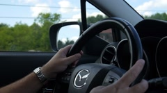 Mazda Car Steering Wheel - Adjusting Buttons - Driving Stock Footage