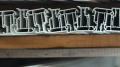 PVC profiles, plastic windows manufacture Stock Footage