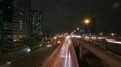 Motion timelapse - night traffic + business towers HD HQ - Moscow city Stock Footage