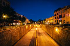View of the Connecticut Avenue underpass at night, at Dupont Circle, in Washi Stock Photos
