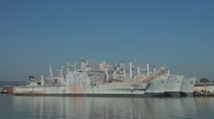 Navy Ships Docked Stock Footage
