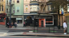 Profile Shot of Businesses on Market Street in San Francisco  	 Stock Footage