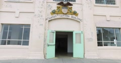 Entering the Administration Building on Alcatraz Island  	 Stock Footage