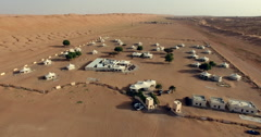 Desert night camp from above in Wahiba Sands Stock Footage
