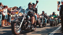Motorcyclists and bikers going thumbs up at the motorcycle parade Stock Footage