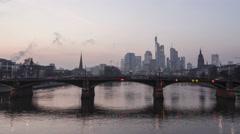 4K Timelapse Cargoships at Frankfurt Skyline zoom in Stock Footage