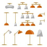 Interior lamp vector icon set Piirros