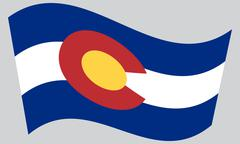 Flag of Colorado waving on gray background Stock Illustration