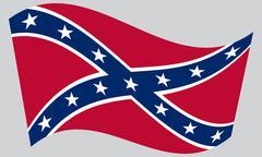 Confederate rebel flag waving on gray background Stock Illustration