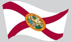 Flag of Florida waving on gray background Stock Illustration