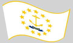 Flag of Rhode Island waving on gray background Stock Illustration