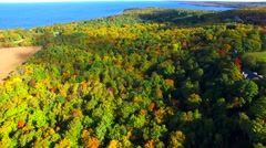 Looking down on amazingly beautiful autumn colors, aerial flyover view Stock Footage