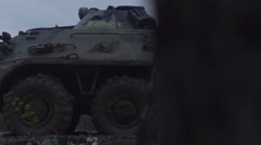 Military armored personnel carrier. Army machinery Stock Footage