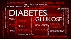 Diabetes, glucose, disease, insulin word tag cloud - red, German variant Stock Footage