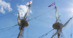 Colonial Ships Arrival to the New World English Flag Sun Flare, 4K Stock Footage