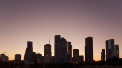 4K Timelapse Houston Skyline sunrise panorama Stock Footage