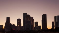 4K Timelapse Houston Skyline sunrise zoom out Stock Footage