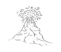 Hand drawn sketch of dangerous volcano eruption Stock Illustration