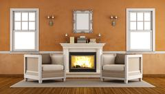 Classic fireplace in a retro living room Piirros
