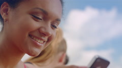 Young woman smiling. Close up of happy girl. Positive emotion on woman face Stock Footage