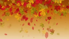 Abstract background with falling yellow autumn leaves Stock Footage