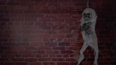 Terrible skeleton on the gallows. Stock Footage