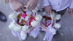 Basket with wedding flowers and rose petals. Stock Footage