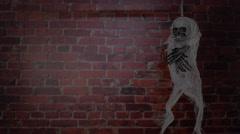 Terrible skeleton on the gallows. Halloween Spirit. Stock Footage