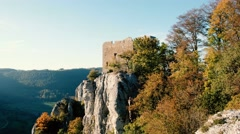 Swabian alps castle Reussenstein Stock Footage