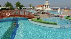 Water pool at the resort in Turkey, people having fun, Kusadasi, Turkey Stock Footage